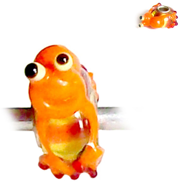 European 1 silver lampwork glass FROG blue orange white black spacer reptile bead