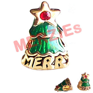 European 1 gold metal CHRISTMAS TREE green enamel STAR red crystal spacer bead