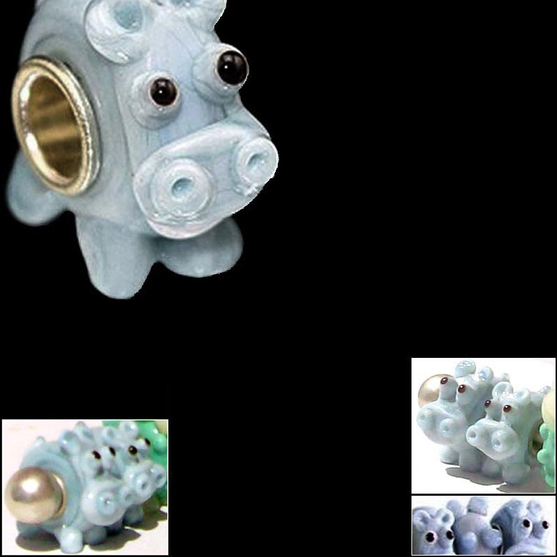 European 1 silver lampwork glass light blue ELEPHANT animal spacer charm bead