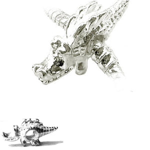 European 1 silver metal DRAGON fantasy GOT reptile fire spacer bead