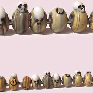 European 1 silver lampwork glass black white MOUSE beige spacer charm bead