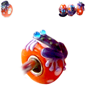 European 1 silver lampwork glass FROG purple white blue orange spacer bead
