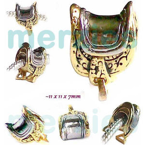 European 1 silver gold metal SADDLE western horse back riding equestrian spacer bead