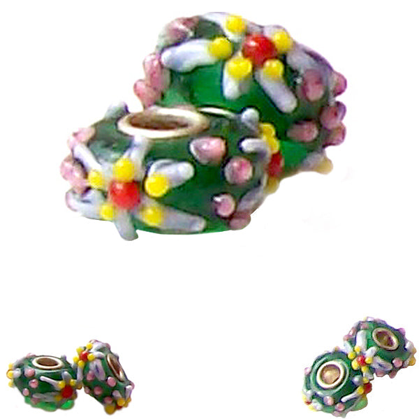 European 1 silver lampwork glass pink yellow red STARFISH green spacer charm bead