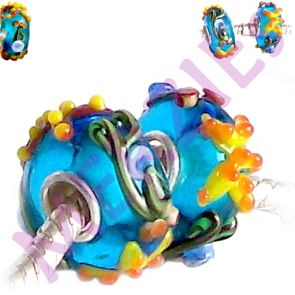 European 1 silver lampwork glass STARFISH red orange yellow blue spacer charm bead
