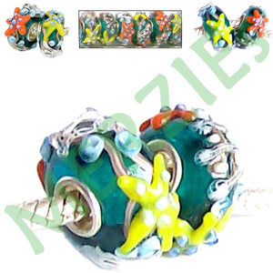 European 1 silver lampwork glass STARFISH orange yellow blue spacer charm bead
