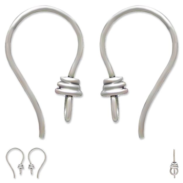 Findings: earwires sterling silver 10x18x4mm Bali front loop earrings ear wires - 1 pair