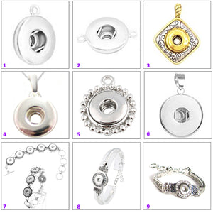 Snap button pendant base 12mm round silver metal finding single loop