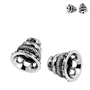 Findings: Bead Caps antique silver plated copper 10x9mm, 2.5mm hole, fits 16-18mm beads - 2