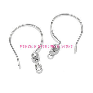 Findings: earwires sterling silver .925 Shepherd's Crook hook ball earrings ear wires - 1 pair