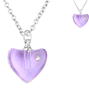 Crystal glass KEEPSAKE pendant Necklace miniature bottle Heart memories grief cremation oil herbs ashes - U PICK