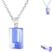 Load image into Gallery viewer, Crystal glass KEEPSAKE pendant CYLINDER DROP Necklace miniature bottle  memories grief cremation oil herbs ashes - U PICK