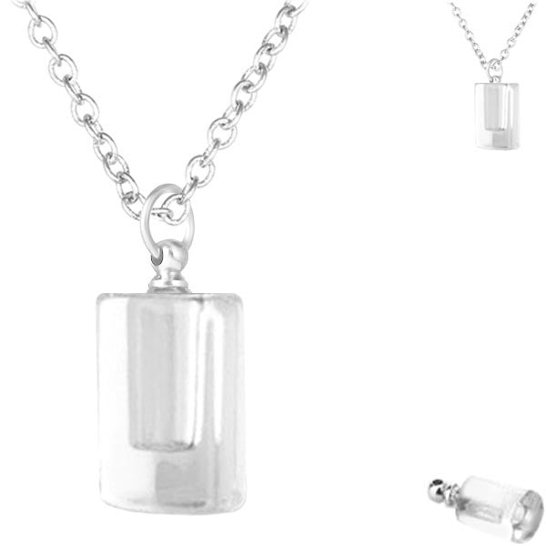 Crystal glass KEEPSAKE pendant CYLINDER DROP Necklace miniature bottle  memories grief cremation oil herbs ashes - U PICK