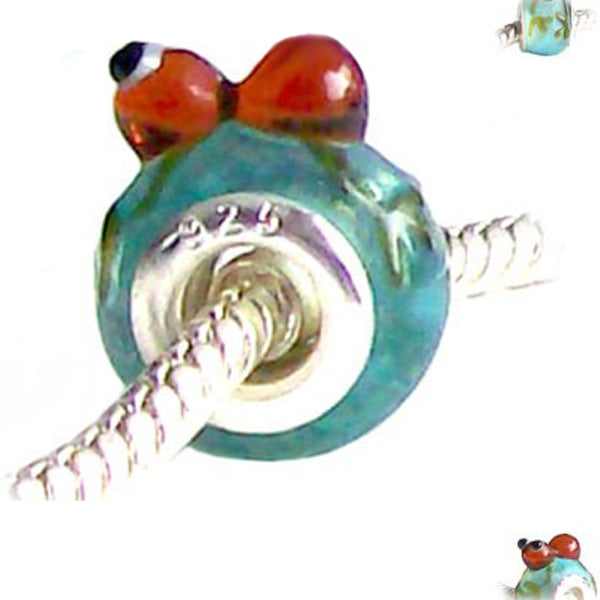 European 1 silver lampwork glass ANT insect blue brown white spacer charm bead
