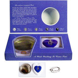 Silver-plated Love Oyster Pearl Cage Necklace kit, English text: STARFISH star fish sea wish ocean - blue box
