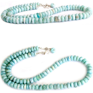 Rare Larimar Dominican sterling silver & natural blue white ~10-17mm graduated rondelle beads necklace