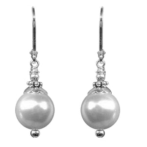 Silver-plated earrings Shell Pearl 10mm freshwater semi-round dangles - 1 pair