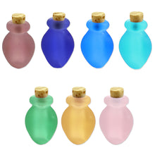 Load image into Gallery viewer, Mini frosted glass handmade Vase bottle keepsake cork vial cremation urn ashes oil perfume - U PICK