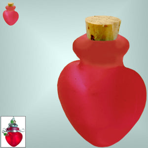 Mini frosted glass handmade Heart bottle keepsake cork vial cremation urn ashes oil perfume - U PICK