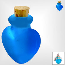 Load image into Gallery viewer, Mini frosted glass handmade Heart bottle keepsake cork vial cremation urn ashes oil perfume - U PICK