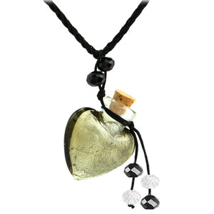 Glass Foil Heart bottle KEEPSAKE cork crystal dangles cord adjustable necklace memory grief hair locks cremation crystals urn ashes perfume oil - SMOKY QUARTZ