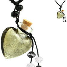 Load image into Gallery viewer, Glass Foil Heart bottle KEEPSAKE cork crystal dangles cord adjustable necklace memory grief hair locks cremation crystals urn ashes perfume oil - SMOKY QUARTZ