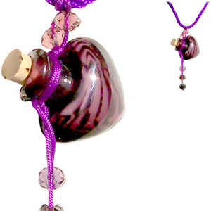 Glass Heart bottle KEEPSAKE cork crystal dangles cord adjustable necklace memory grief hair locks cremation crystals urn ashes perfume oil - U PICK