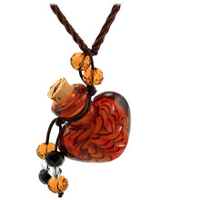 Load image into Gallery viewer, Glass Heart bottle KEEPSAKE cork crystal dangles cord adjustable necklace memory grief hair locks cremation crystals urn ashes perfume oil - U PICK