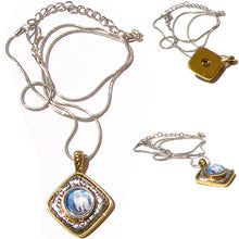 Load image into Gallery viewer, Snap button necklace pendant base 12mm diamond silver gold metal finding chain