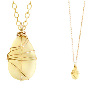 "Artisan GOLD wire-wrapped Sea Glass LEMON yellow pendant drop | 18"" chain necklace"