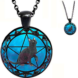 Black glass dome Cat Pentagram round animal pendant & lobster clasp chain
