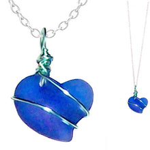 Load image into Gallery viewer, Artisan art cultured SEA GLASS HEART necklace silver non-tarnish 18mm wire-wrapped pendant & silver-plated chain | U PICK