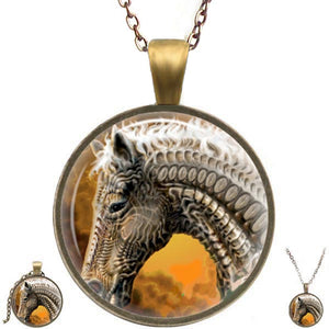 Bronze glass dome Horse Head artistic round animal pendant & lobster clasp chain