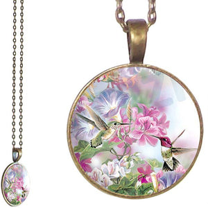 Bronze glass dome Hummingbirds Flower pink green round pendant & lobster clasp chain