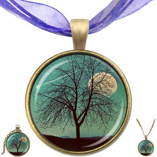Bronze glass dome Tree of Life Moon blue round pendant & lobster clasp chain