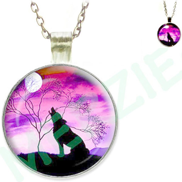 Silver glass dome Wolf Howling black pink round animal pendant & lobster clasp chain