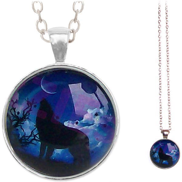 Silver glass dome Wolf Howling standing black wild blue animals round pendant & lobster clasp chain