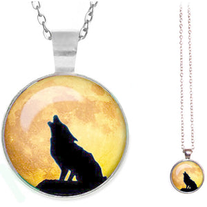 Silver glass dome Wolf Howling sitting yellow round animal pendant & lobster clasp chain