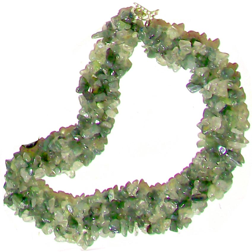 Artisan stone chips Necklace Green Rutilated Quartz weaved silver metal toggle clasp