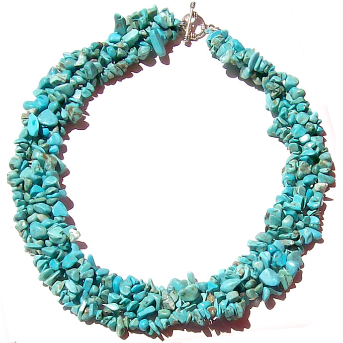 Artisan stone chips Necklace Turquoise Blue stabilized weaved silver metal toggle clasp