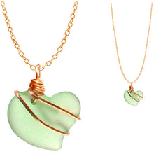 Load image into Gallery viewer, Artisan cultured SEA GLASS HEART necklace Gold non-tarnish 18mm wire-wrapped pendant & plated chain | U PICK