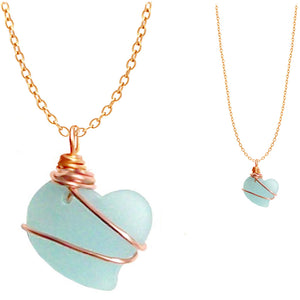 Artisan cultured SEA GLASS HEART necklace Copper non-tarnish 18mm wire-wrapped pendant & plated chain | U PICK