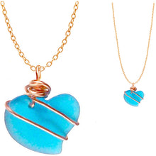 Load image into Gallery viewer, Artisan cultured SEA GLASS HEART necklace Copper non-tarnish 18mm wire-wrapped pendant & plated chain | U PICK