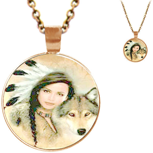 Copper glass dome American Indian Squaw & Wolf round animal pendant & lobster clasp chain