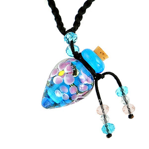 Italian glass Floral bottle KEEPSAKE necklace memories locks perfume oil urn cremation ashes Aromatherapy