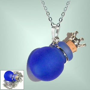 Silver necklace mini frosted glass handmade Crown cork bottle keepsake vial cremation urn ashes oil perfume - U PICK
