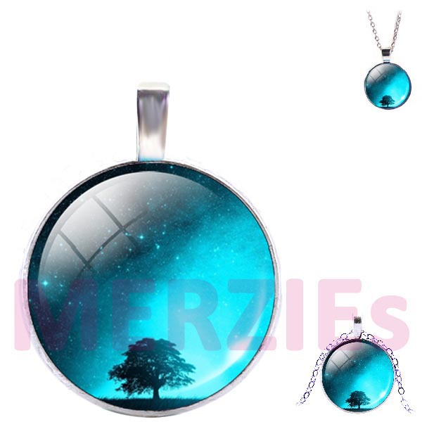 Silver glass dome Tree of Life stars sky evening blue white pendant & lobster clasp chain