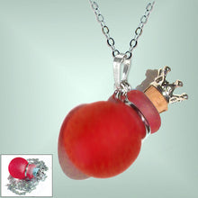 Load image into Gallery viewer, Silver necklace mini frosted glass handmade Crown cork bottle keepsake vial cremation urn ashes oil perfume - U PICK