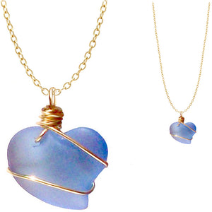 Artisan cultured SEA GLASS HEART necklace Gold non-tarnish 18mm wire-wrapped pendant & plated chain | U PICK