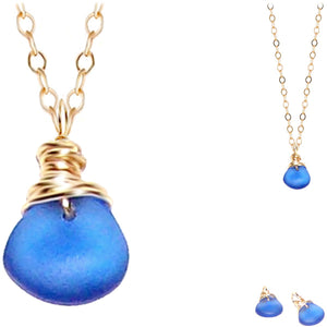 "Artisan GOLD wire-wrapped Sea Glass pendant BLUE | 18"" chain necklace #1"